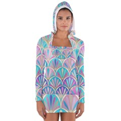 Colorful lila toned mosaic Women s Long Sleeve Hooded T-shirt