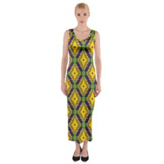 Morocco Flower Yellow Fitted Maxi Dress