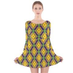 Morocco Flower Yellow Long Sleeve Velvet Skater Dress