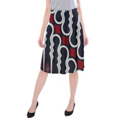 Batik Jogja Red Black Midi Beach Skirt
