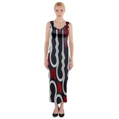 Batik Jogja Red Black Fitted Maxi Dress