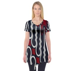 Batik Jogja Red Black Short Sleeve Tunic