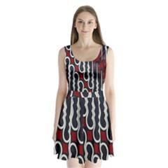 Batik Jogja Red Black Split Back Mini Dress