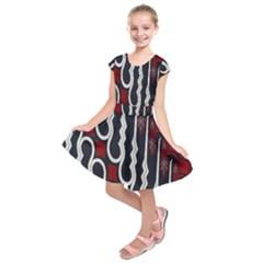 Batik Jogja Red Black Kids  Short Sleeve Dress
