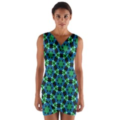Flower Green Wrap Front Bodycon Dress