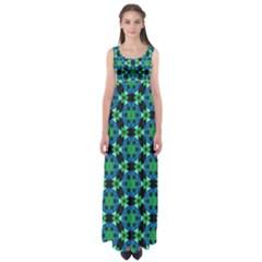 Flower Green Empire Waist Maxi Dress