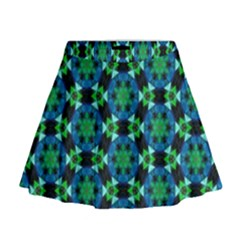 Flower Green Mini Flare Skirt
