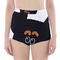 Peeping Miniature Pinscher High-Waisted Bikini Bottoms