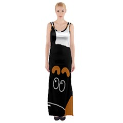 Peeping Miniature Pinscher Maxi Thigh Split Dress