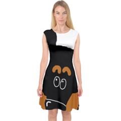 Peeping Miniature Pinscher Capsleeve Midi Dress