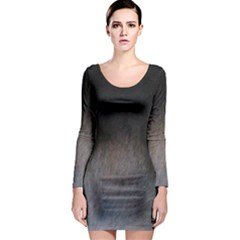 black to gray fade Long Sleeve Bodycon Dress