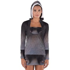 black to gray fade Women s Long Sleeve Hooded T-shirt