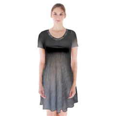black to gray fade Short Sleeve V-neck Flare Dress