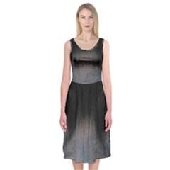 black to gray fade Midi Sleeveless Dress