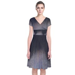black to gray fade Short Sleeve Front Wrap Dress