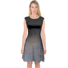black to gray fade Capsleeve Midi Dress