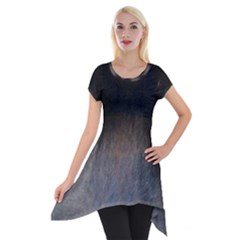black to gray fade Short Sleeve Side Drop Tunic