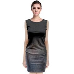 black to gray fade Sleeveless Velvet Midi Dress