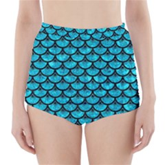 Scales3 Black Marble & Turquoise Marble (r) High Waisted Bikini Bottoms