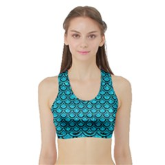 Scales2 Black Marble & Turquoise Marble (r) Sports Bra With Border