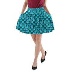 Scales2 Black Marble & Turquoise Marble (r) A Line Pocket Skirt