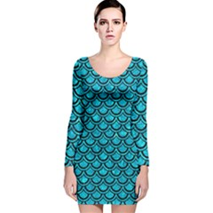 SCA2 BK-TQ MARBLE (R) Long Sleeve Velvet Bodycon Dress
