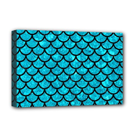 Scales1 Black Marble & Turquoise Marble (r) Deluxe Canvas 18  X 12  (stretched)