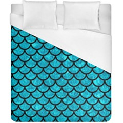 Scales1 Black Marble & Turquoise Marble (r) Duvet Cover (california King Size)