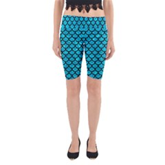 Scales1 Black Marble & Turquoise Marble (r) Yoga Cropped Leggings