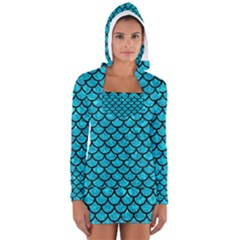 Scales1 Black Marble & Turquoise Marble (r) Long Sleeve Hooded T Shirt
