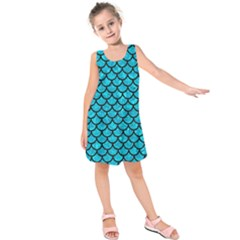 Scales1 Black Marble & Turquoise Marble (r) Kids  Sleeveless Dress