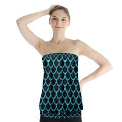 Scales1 Black Marble & Turquoise Marble Strapless Top
