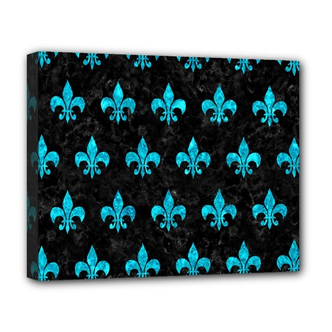Royal1 Black Marble & Turquoise Marble (r) Deluxe Canvas 20  X 16  (stretched)