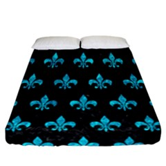 Royal1 Black Marble & Turquoise Marble (r) Fitted Sheet (california King Size)