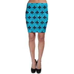 Royal1 Black Marble & Turquoise Marble Bodycon Skirt