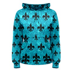 Royal1 Black Marble & Turquoise Marble Women s Pullover Hoodie