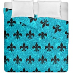 Royal1 Black Marble & Turquoise Marble Duvet Cover Double Side (king Size)