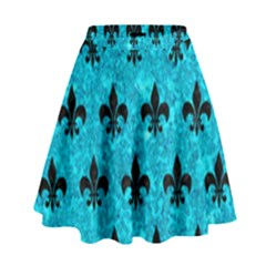 Royal1 Black Marble & Turquoise Marble High Waist Skirt
