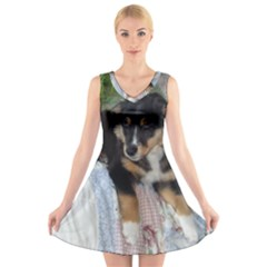 Australian Shepherd Black Tri Puppy V-Neck Sleeveless Skater Dress