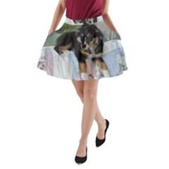 Australian Shepherd Black Tri Puppy A-Line Pocket Skirt