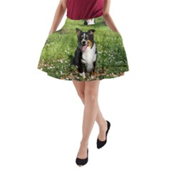 Australian Shepherd Black Tri Sitting 2 A-Line Pocket Skirt