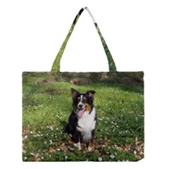 Australian Shepherd Black Tri Sitting 2 Medium Tote Bag