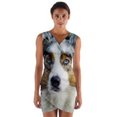 Australian Shepherd Blue Merle 3 Wrap Front Bodycon Dress