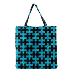 Puzzle1 Black Marble & Turquoise Marble Grocery Tote Bag