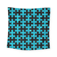 Puzzle1 Black Marble & Turquoise Marble Square Tapestry (small)