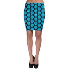 Hexagon2 Black Marble & Turquoise Marble (r) Bodycon Skirt