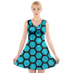 HXG2 BK-TQ MARBLE (R) V-Neck Sleeveless Skater Dress