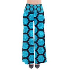 Hexagon2 Black Marble & Turquoise Marble (r) So Vintage Palazzo Pants