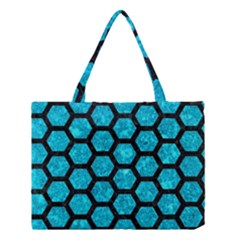 Hexagon2 Black Marble & Turquoise Marble (r) Medium Tote Bag