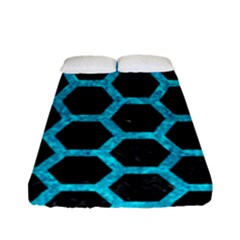 Hexagon2 Black Marble & Turquoise Marble Fitted Sheet (full/ Double Size)